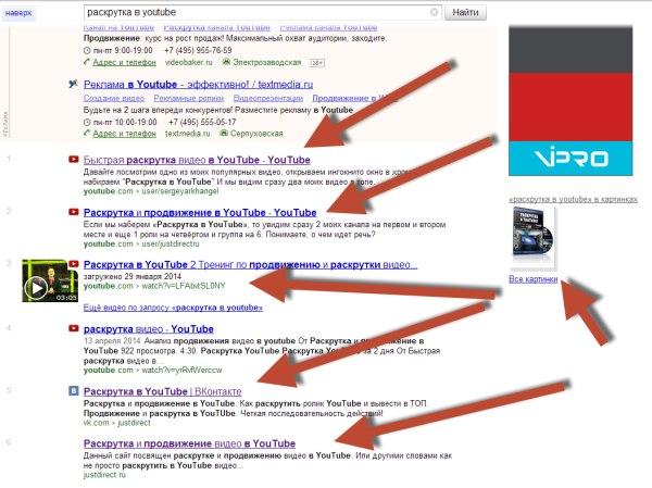 первые места раскрутка и продвижение в youtube в Яндекс